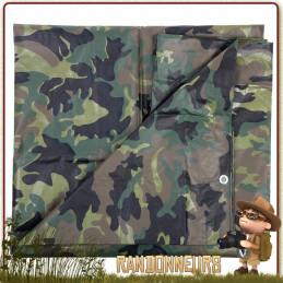 Bache Tarpaulin 300 par 500 Camouflage militaire 100 INC pour abri bivouac bushcraft survie