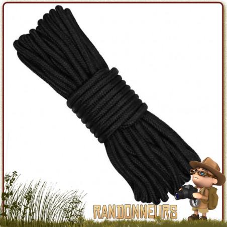 Corde Militaire Polyester 7mm de 15 mètres NOIRE