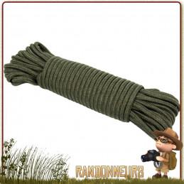 cordage militaire 9 mm de 15 mètres verte tout usage drisse de surplus armée pour bâche tarp militaire