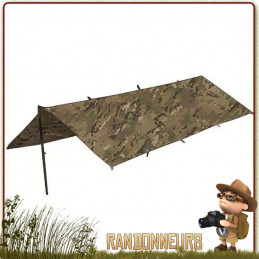 tarp bushcraft militaire étanche bâche polyester ripstop camouflage highlander, bâche tarp de bivouac survie léger pas cher